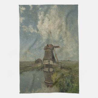 Molino de viento holandés en el canal Paul Gabriël Toallas De Mano