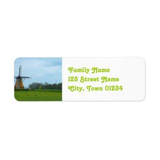 Molino de viento holandés etiquetas de remite