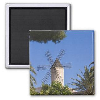 Molino de viento, Palma, Mallorca, España Imán Cuadrado