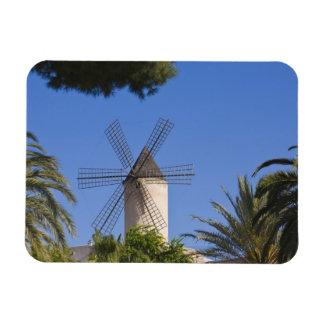 Molino de viento, Palma, Mallorca, España Imán Foto Rectangular