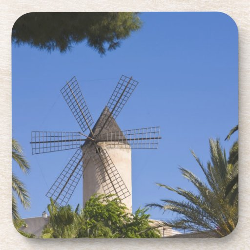 Molino de viento, Palma, Mallorca, España Posavasos De Bebidas