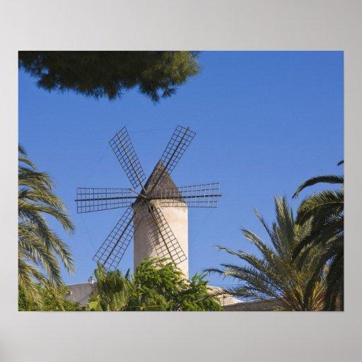 Molino de viento, Palma, Mallorca, España Póster