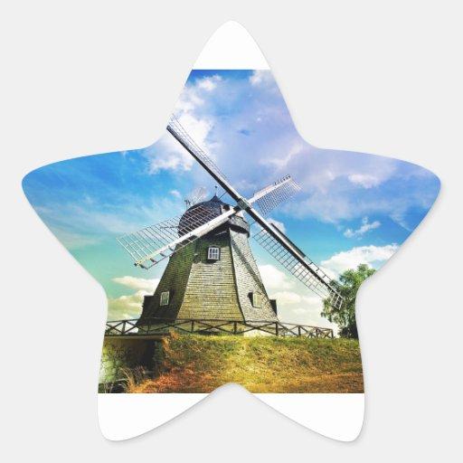 Molino de viento pegatina en forma de estrella