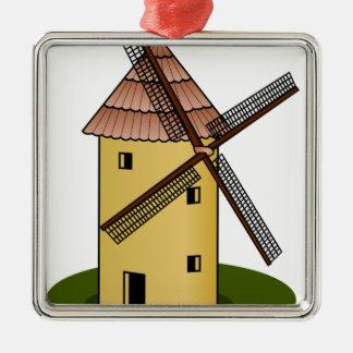 Molino de viento tradicional del europeo del adorno cuadrado plateado