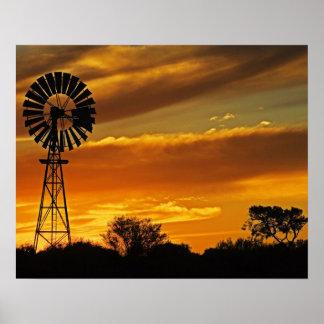 Molino de viento y puesta del sol, cala de Guiller Posters