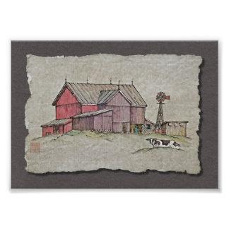 Molino de viento y vaca del granero arte con fotos