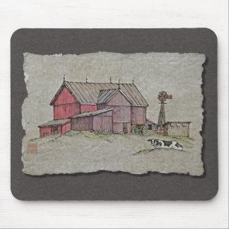 Molino de viento y vaca del granero tapetes de raton