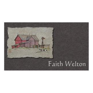Molino de viento y vaca del granero tarjetas de visita