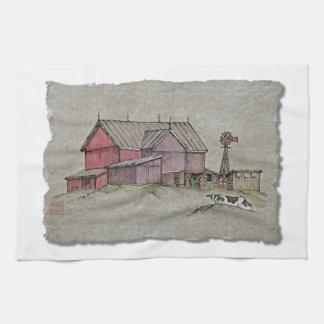 Molino de viento y vaca del granero toalla de mano