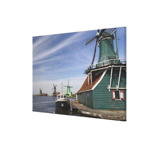 Molino de viento, Zaanse Schans, Holanda, Países B Lona Envuelta Para Galerias