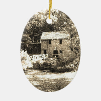Molino del grano para moler del vintage adorno ovalado de cerámica