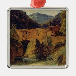 Molino en el valle cerca de Amalfi, 1829 Adorno Cuadrado Plateado