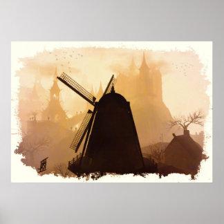 Molino en las nieblas posters