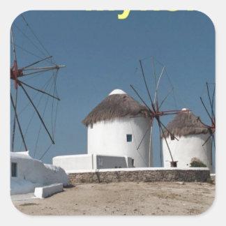 Molinoes de viento de Grecia Mykonos (Aggel) Pegatina Cuadrada