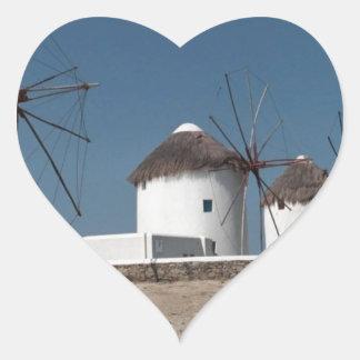 Molinoes de viento de Grecia Mykonos (Aggel) Pegatina En Forma De Corazón