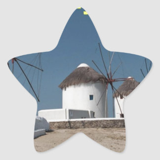 Molinoes de viento de Grecia Mykonos (Aggel) Pegatina En Forma De Estrella