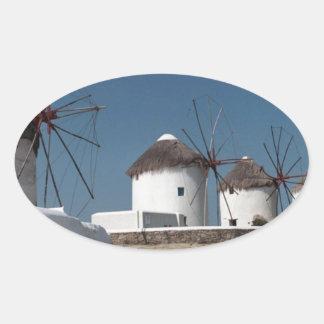 Molinoes de viento de Grecia Mykonos (Aggel) Pegatina Ovalada