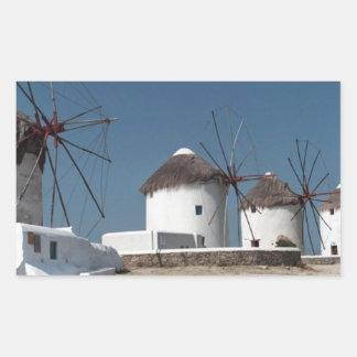 Molinoes de viento de Grecia Mykonos (Aggel) Pegatina Rectangular