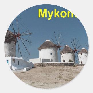 Molinoes de viento de Grecia Mykonos (Aggel) Pegatina Redonda