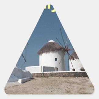 Molinoes de viento de Grecia Mykonos (Aggel) Pegatina Triangular