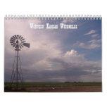 Molinoes de viento de Kansas occidental Calendario De Pared