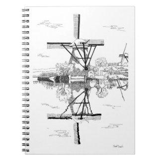 Molinoes de viento en el cuaderno de Kinderdijk