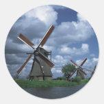 Molinoes de viento en Holanda Pegatina Redonda