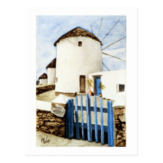 Molinoes de viento griegos tarjeta postal