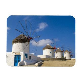 Molinoes de viento hermosos en la isla de Mykonos, Imán Rectangular