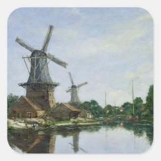 Molinoes de viento holandeses, 1884 pegatina cuadrada