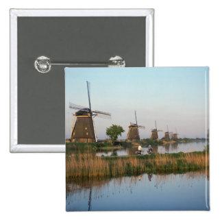 Molinoes de viento, Kinderdijk, Países Bajos Pin Cuadrado
