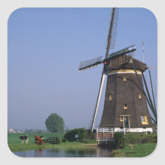 Molinoes de viento, Leidschendam, Países Bajos Pegatina Cuadrada