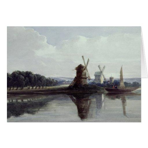 Molinoes de viento por un río, siglo XIX Tarjeta De Felicitación