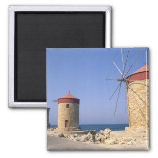 Molinoes de viento viejos famosos de Rodas Grecia Imán De Frigorifico