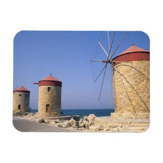 Molinoes de viento viejos famosos de Rodas Grecia Imanes Flexibles
