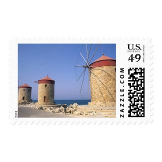 Molinoes de viento viejos famosos de Rodas Grecia Sello