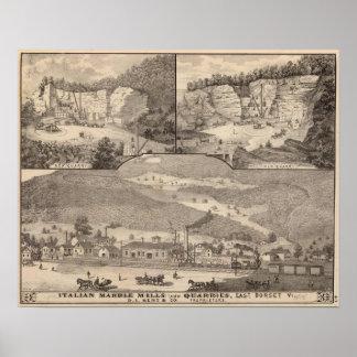 Molinos y minas de mármol italianos póster