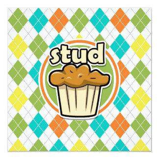 """Mollete de Stuf; Modelo colorido de Argyle Invitación 5.25"""" X 5.25"""""""