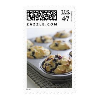 Molletes del arándano en una lata de hornada en un sellos postales