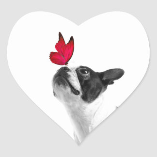 Mollie mouse child Boston Terrier Heart Sticker