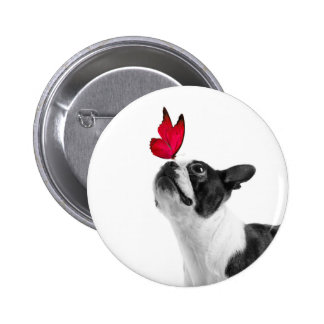 Mollie niño de ratón Boston Terrier Pin Redondo De 2 Pulgadas
