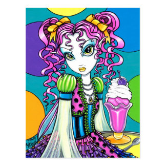 """""""Molly"""" Cute Rainbow Soda Shop Fairy Postcard"""
