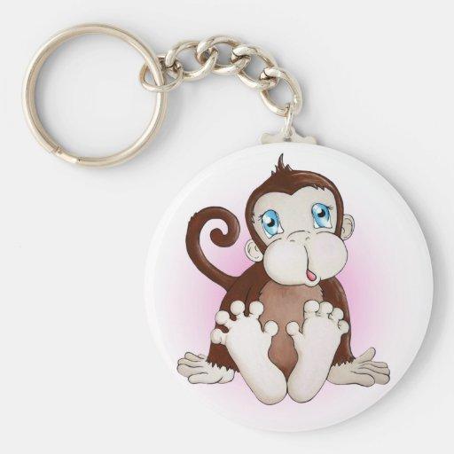 Molly el mono llavero redondo tipo pin