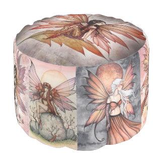 Molly Harrison Autumn Fairy Art Round Pouf