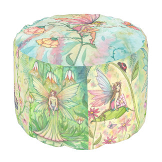 Molly Harrison Flower Fairy Art Round Pouf