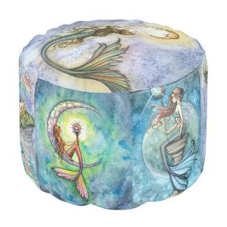 Molly Harrison Watercolor Mermaids Art Round Pouf
