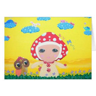 Molly Mushroom Baby In Polka Dottie Whimsy Land Card