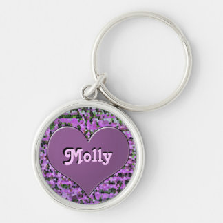 """""""Molly"""", on Heart on Stained Glass, Keychain"""