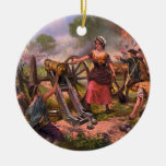 Molly Pitcher Firing Cannon at Battle of Monmouth Ceramic Ornament
