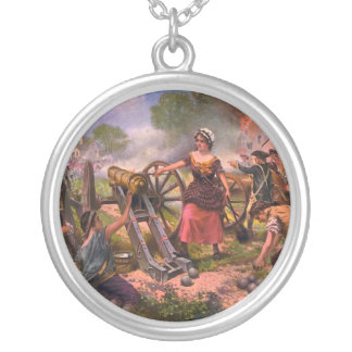 Molly Pitcher Firing Cannon at Battle of Monmouth Round Pendant Necklace
